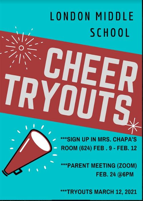 cheer tryouts please check for the various scheduled dates and times